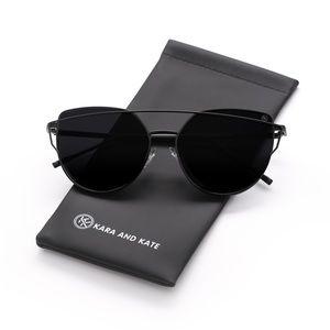Black On Black Mirrored Sunglasses, Aviators